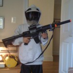 Airsoft Rifle and Safety Mask
